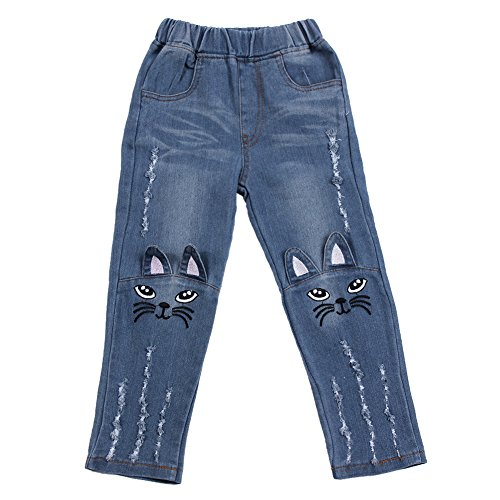 Chinatera Little Toddler Girls Denim Jeans Long Pants Cartoon Cat Printed Trousers (5-6 Y)