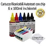 KIT 4 CARTUCCE RICARICABILI CON CHIP AUTORESET+ 6 X 100ML INCHIOSTRI DI RICARICA PER EPSON T0711 T0712 T0713 T0714 CON STAMPANTE Epson Stylus D78 / DX4000 / DX4050 / DX5000 / DX5050 / DX6000 / DX6050 / DX7000F / D92 / D120 / DX4400 / DX4450 / DX7400 / DX7450 / DX8400 / DX8450 / DX9400F / S20 / SX100 / SX105 / SX200 / SX205 / SX400 / SX405 / BX300F / bx600fw , In Omaggio 50 Fogli Carta Lucida .