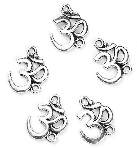 Chakra Om Sanskrit Connectors, Yoga Charms, 95 Pieces - Silver Tone ()