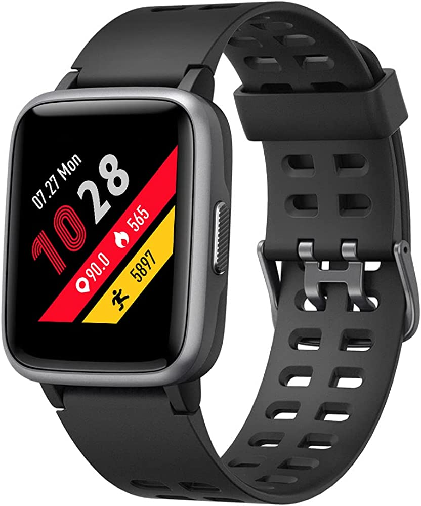 YAMAY Smart Watch for Android and iOS Phone IP68 Waterproof, Fitness Black