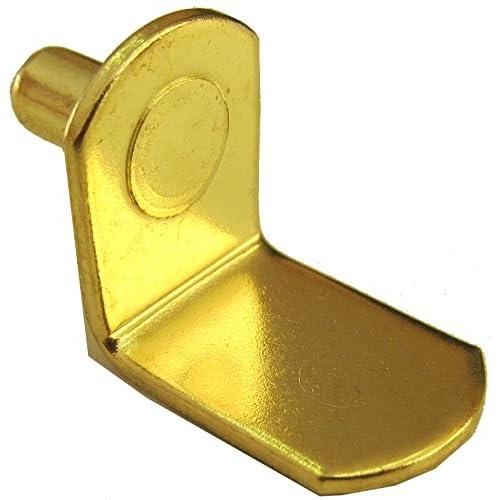 "1/4"" Bracket Style Cabinet Shelf Support Pegs - Polished Brass - Box of 25"