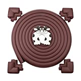 Image of 16.2 ft Baby Edge & Corner Guards Set [ 15 ft Edge Guards + 8 Pcs Corner Guards + Door Slam Stopper ], Soft Dense Cushion Foam for Baby Safety (Coffee)