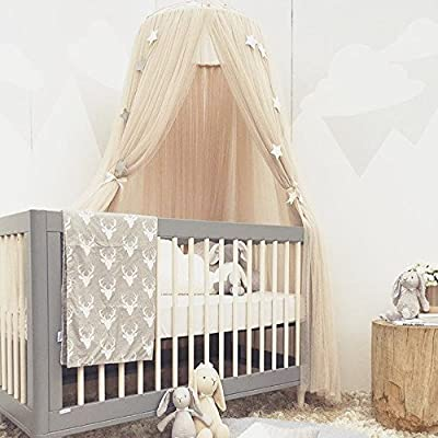 ESUPPORT Dome Princess Bed Canopy Round Lace Mosquito Net Play Tent Hanging House Decoration Lace Netting Curtains Indoor Game House for Baby Kids