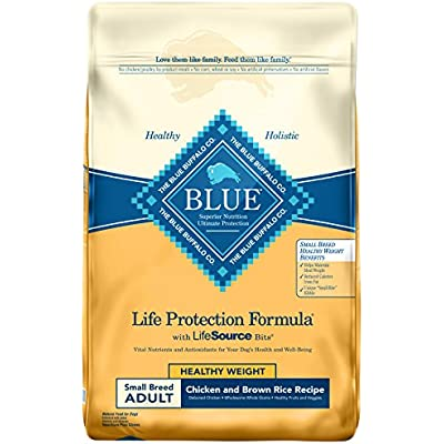 Blue Buffalo Life Protection Formula Healthy Weight Small Breed Dog Food – Natural Dry Dog Food for Adult Dogs – Chicken and Brown Rice – 15 lb. Bag 800294