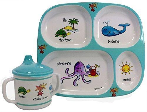 (Baby Cie Ocean Animals, Melamine Plate & Sippy Cup - 2 Piece Set)