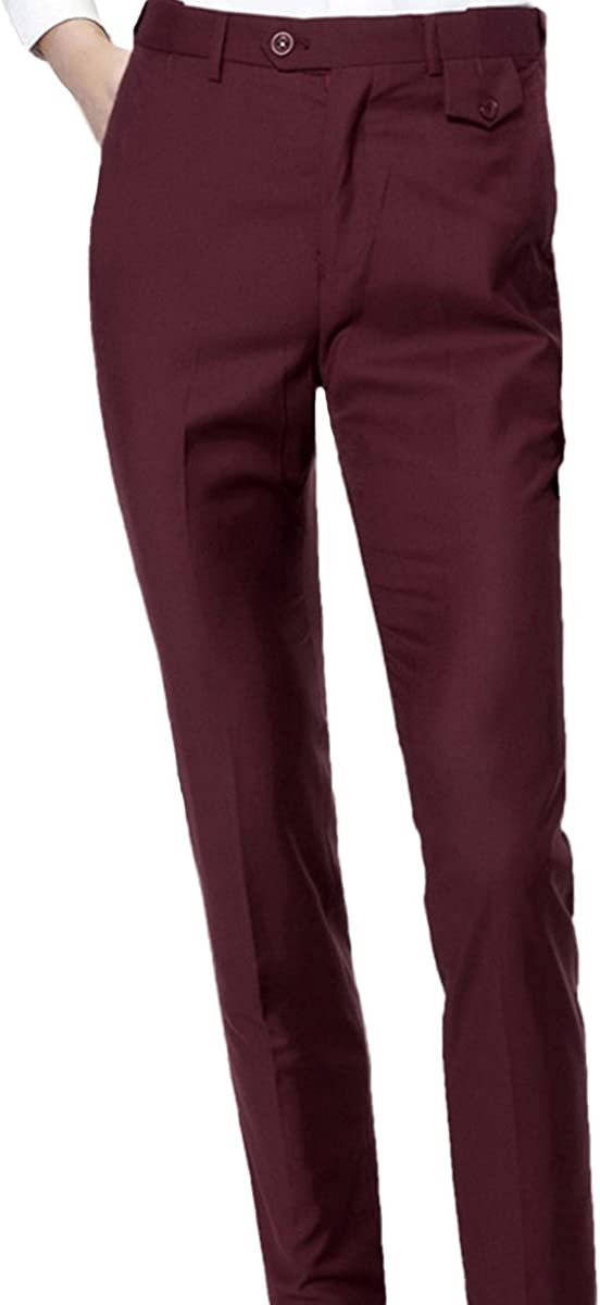 YOUTHUP Mens Trousers Slim Fit Flat Front No-Pleat Not-Lined Suit Pants Formal Business Dress Trousers