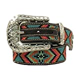 Nocona Girl's Colorful Stitching Rhinestones Belt, Black, Multi Color, 20