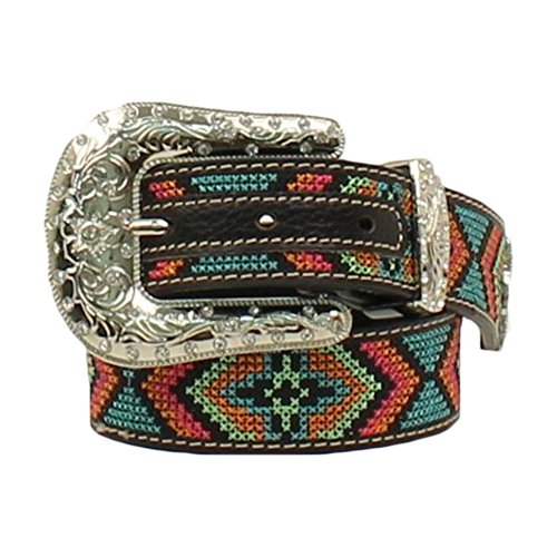 Nocona Girl's Colorful Stitching Rhinestones Belt, Black, Multi Color, 20 by Nocona (Image #1)
