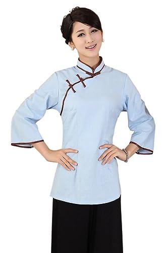 XueXian(TM) Mujer de Tang Abrigo de Ropa de Estilo China con Azul
