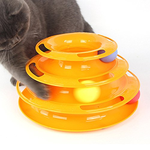 JunBo Cat Roller Toys with Balls Interactive Cat Toys in 3 Level Tower (Orange)