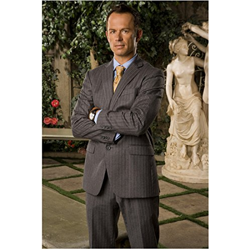 (Valentine Jonny Rees as Ares in Gray Pinstripe Suit Crossing Arms 8 x 10 inch photo)