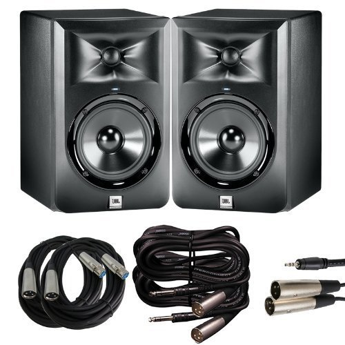 JBL LSR 305 Studio Monitor Pair with XLR for Mixing Boards, TRS to XLR for Interfaces, and 1/8 in. to XLR for Laptops... by JBL