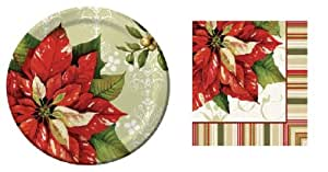 Vintage Poinsettia - Christmas Party Pack - 8 Paper Plates and 16 Napkins