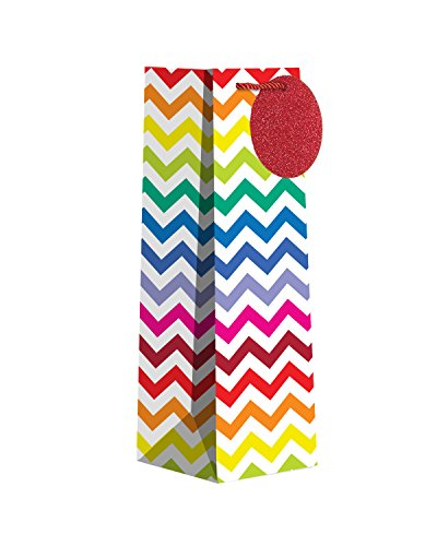 Jillson Roberts 6-Count Wine and Bottle Gift Bags Available in 12 Different Designs, Glittered Bright Chevron
