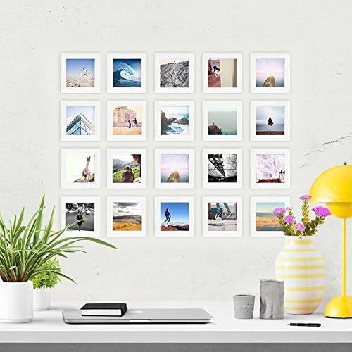 20, White Natural Wood 4x4 Square Photo Frame