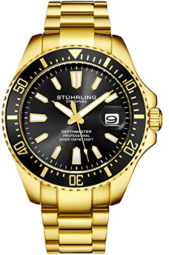 Stuhrling Original Mens Dive Watch - Gold Tone Stainless Steel Bracelet Black Dial Analog Watch with Screw Down Crown for 330 Ft. of Water Resistance Quartz Movement - Depthmaster Watches for Men Coll