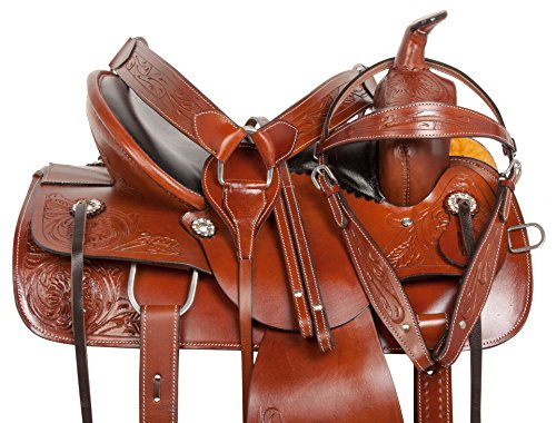 15 16 WESTERN PLEASURE TRAIL RANCH WORK ENDURANCE LEATHER HORSE SADDLE TACK HEADSTALL REINS BREAST COLLAR (15) - Endurance Headstall
