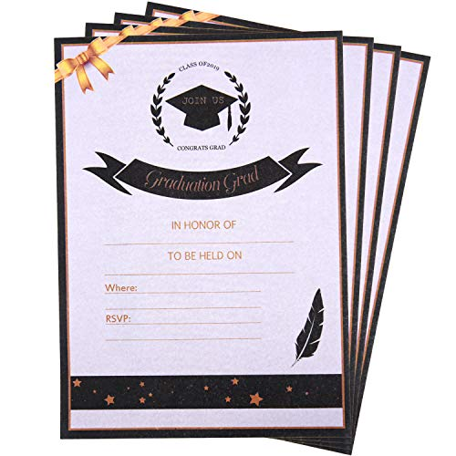 50 Sheets 2019 Graduation Invitations Card Grad Celebration Announcement Supplies for Graduation Theme Activities