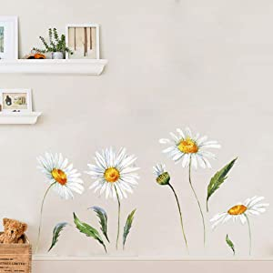 Daisy Wall Stickers Removable Flower Wall Decals Bedroom Living Room Wall Art Decor (White)