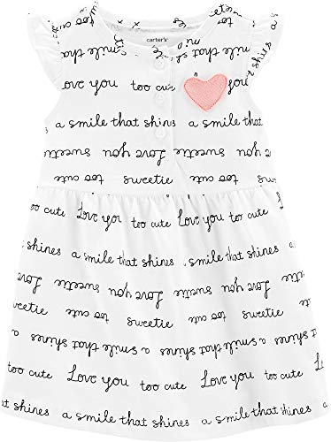 Carter's Baby Girls Sweet Words Dress 9 Months Ivory/Black/Pink