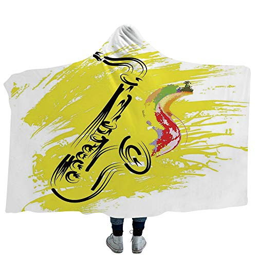 (Hooded Blanket Kids Deluxe Blanket Relieves Anxiety Stress Agitation Educational Map of America USA with States and Capitals City California Texas New York Printed Art Decorative (Adults 60