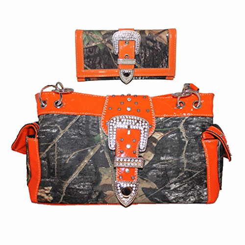New Style Rhinestone Buckle Concho Camouflage Leather Shoulder Handbag Purse in Orange (New Western Rhinestone Concho)