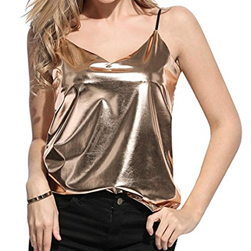 (WILLTOO ✿ Womens Sparkly Casual Shirt, Short Comfy Vest Tanks Club Top Tee (Gold, S))