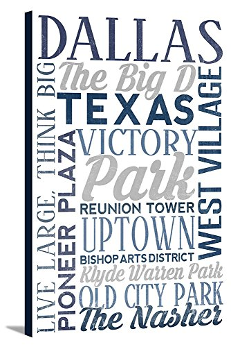Dallas, Texas - City Typography (16x24 Gallery Wrapped Stretched Canvas) -
