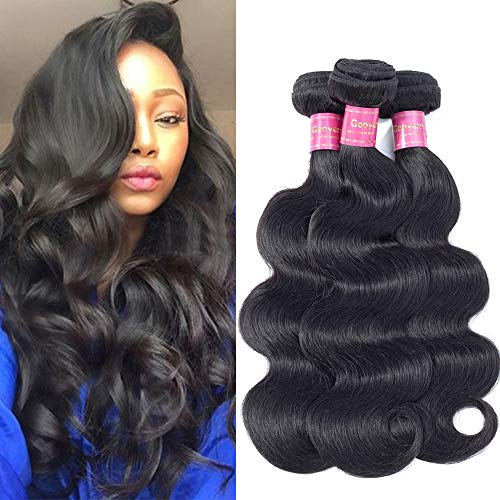 Geoyern Brazilian Body Wave Virgin Hair 3 Bundles Deal 10A Unprocessed Virgin Human Hair Weave Extensions For Black Women Natural Color 3pcs (10 10 10) Remy Hair Weft Weaving