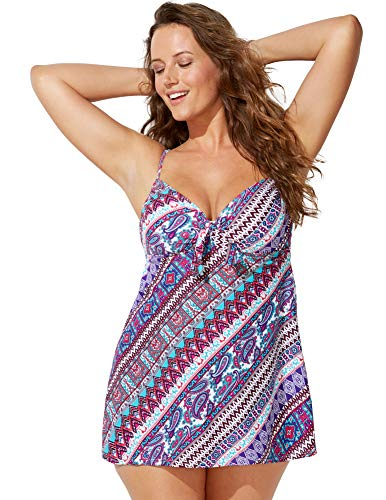 - Swimsuits For All Women's Plus Size Reverie Tie Front Underwire Swimdress 20 Multi