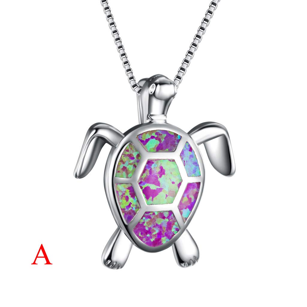 FunDiscount Women Necklaces 925 Sterling Silver Opal Sea Turtle Pendant Necklace Birthstone Jewelry for Women Health and Longevity Victoria Jewelry