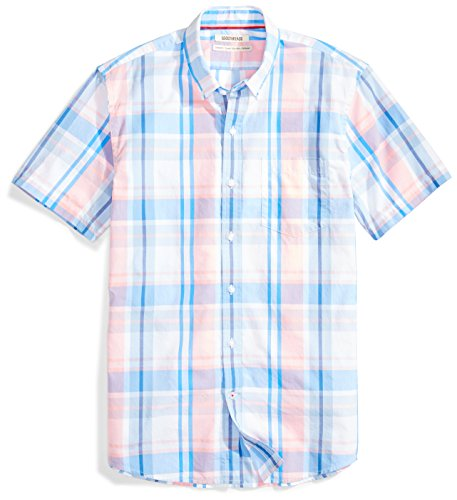 Goodthreads Men's Standard-Fit Short-Sleeve Large-Scale Plaid Shirt, Pink/Blue, Large ()