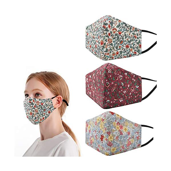 Pretty Printed Floral Cloth Face Cover Mask Reusable for Women, Fashion Washable Adjustable Cotton Scarf Gift Breathable