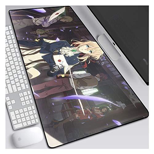 IGIRC Mauspad Violet Evergarden Speed Gaming Mauspad, 900X400mm Mauspad, Erweitertes XXL großes Mousemat mit 3mm starker Basis, Perfekte Präzision und Geschwindigkeit, P