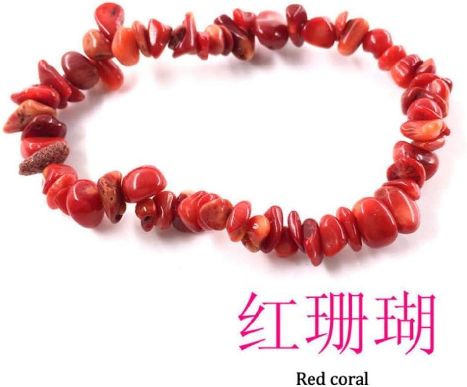 XCVB Pulsera de Piedra de Cristal Pulsera de Grava Encanto de Piedra Natural Irregular con Cuerda elástica Regalo para Mujer, Coral Rojo