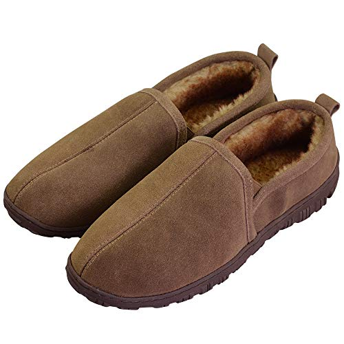 Men's Anti-Slip Cozy Thick Plush Lining Genuine Cowhide Outdoor Indoor Slip On Moccasin Loafers US 13 Brown (FBA)