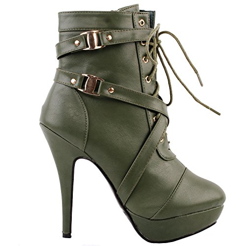 Ankle Strap Green High Punk Story Show Stiletto Platform LF30470 Army Bootie Heel Buckle qWA8tUT