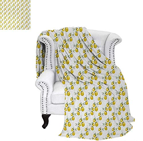 Warm Microfiber All Season Blanket for Bed or Couch Lemon Tree Branches Agriculture Kitchen Lemonade Citrus Figure Graphic Art Throw Blanket 70