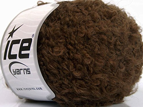 Lot of 8 Skeins ICE Boucle Mohair Worsted (20% Mohair 25% Wool) Yarn Brown