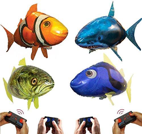 Air Swimmers AquAIRium 4-Pack: Flying Shark, Clownfish, Regal Tang, and Bass Fish