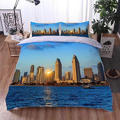 - HOOMORE Bed Comforter - 3-Piece Duvet -All Season, Skyline of San Diego California from Coronado Bay,HypoallergenicDuvet-MachineWashable -Twin-Full-Queen-King-Home-Hotel -School