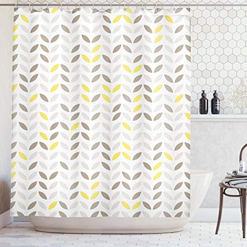 Ambesonne Geometric Decor Collection, Stylized Fish with Abstract Patterns Techno Urban Trend Creative Design, Polyester Fabric Bathroom Shower Curtain Set with Hooks, Grey Yellow