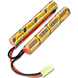BAKTH 9.6V NiMH 1600mAh Butterfly Nunchuck Battery Pack Mini Tamiya Connector, High Discharge Rate Rechargebale Nunchuck Battery Airsoft Guns