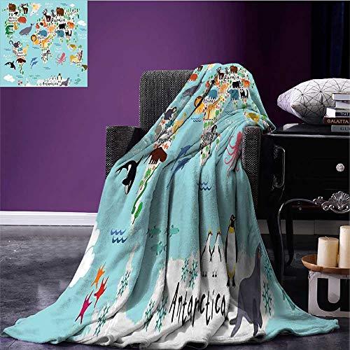 (RenteriaDecor Kids Digital Printing Blanket Educational World Map Africa Camel America Lama Alligator Ocean Australia Koala Print Bed Cover Bed or Couch 70