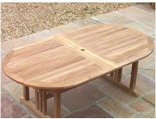 Sustainable Furniture Mesa Ovalada de Madera de Teca para jardín ...