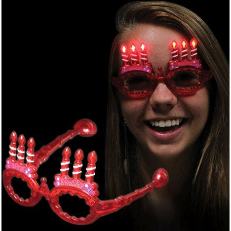 Windy City Novelties Red LED Light Up Happy Birthday Party Dance Spirit Sun - City Party Sunglasses