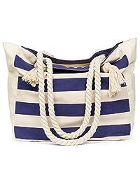 Malirona Large Beach Canvas Travel Tote Bag - Perfect Tote Bag for Holidays-Deep Blue
