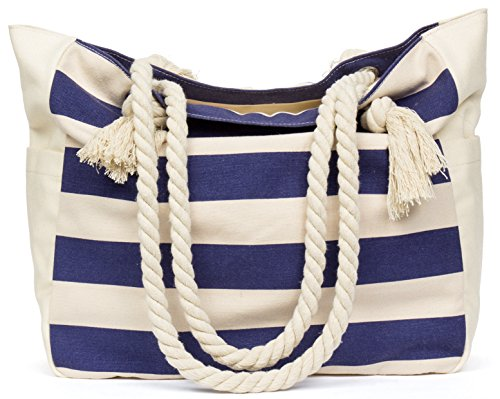 Malirona Women's Canvas Shoulder Bag Beach Bag Rope Handle Handbag Cotton Everyday Purse Casual Bag Blue