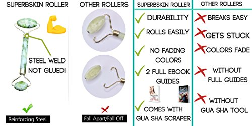 Jade Roller And Gua Sha For Face,Scraping Massage Tool, Guasha Tools, 100% Real, Face Massager, Neck Royal Slimming For Skin,For Puffy Eye, Dark Circles,Chi Anti-Aging Therapy, Massaging Beauty Stones by SuperbSkin Products (Image #1)