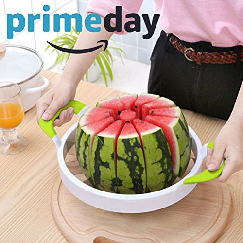 Extra Large Watermelon Slicer Comfort Silicone Handle,Home Stainless Steel Fruit Slicer Cutter Peeler Corer Server for Cantaloup Melon,Pineapple,Honeydew,Get 12
